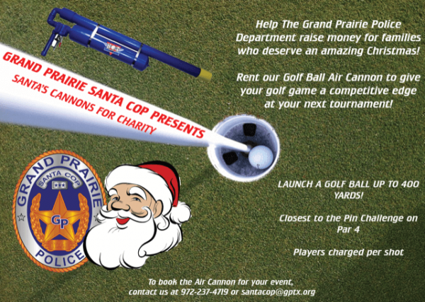 Take your golf event to the next level book the gppa air cannon grand prairie santa cop golf ball air cannon spiritdancerdesigns Choice Image